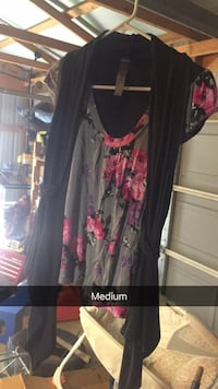 Women's black and gray with pink floral blouse with black cardigan  Bedford, 47421