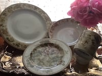white and pink floral ceramic dinnerware set Houston, 77088