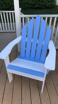 White and blue wooden Adirondack chair Watertown, 02472