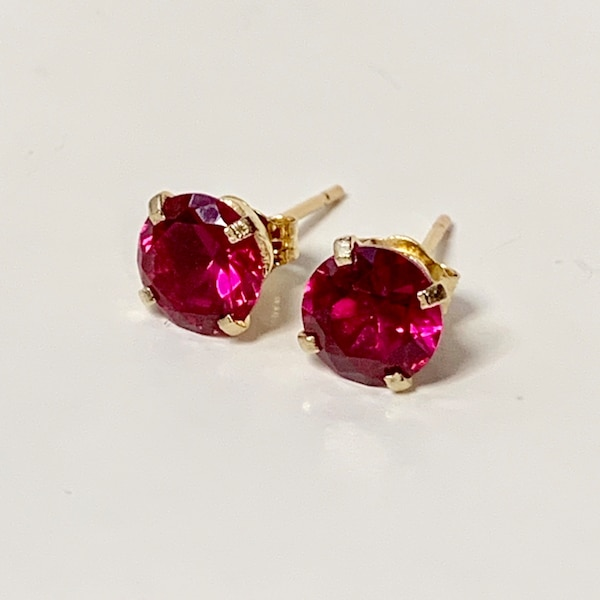 Genuine 14k Yellow Gold Ruby Stud Earrings c8d2c9bd-060e-40ba-90d2-eab8f408a512