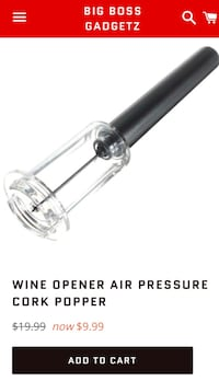 Black and clear glass wine opener air pressure cork popper Los Angeles, 90025