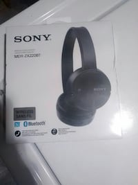 black Sony wireless headphones box