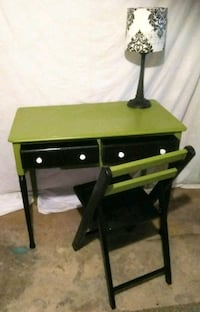 black and green wooden side table St. Louis