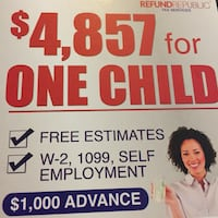 Tax preparation $4,857 for one child Houston, 77033