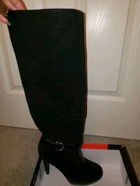 Black suede and leather mid calf boots Oklahoma City