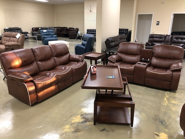 Used Brown Saralavane genuine leather power recliner sofa OR ...