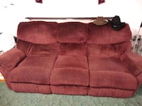 red suede 3-seat sofa Hardy, 24101