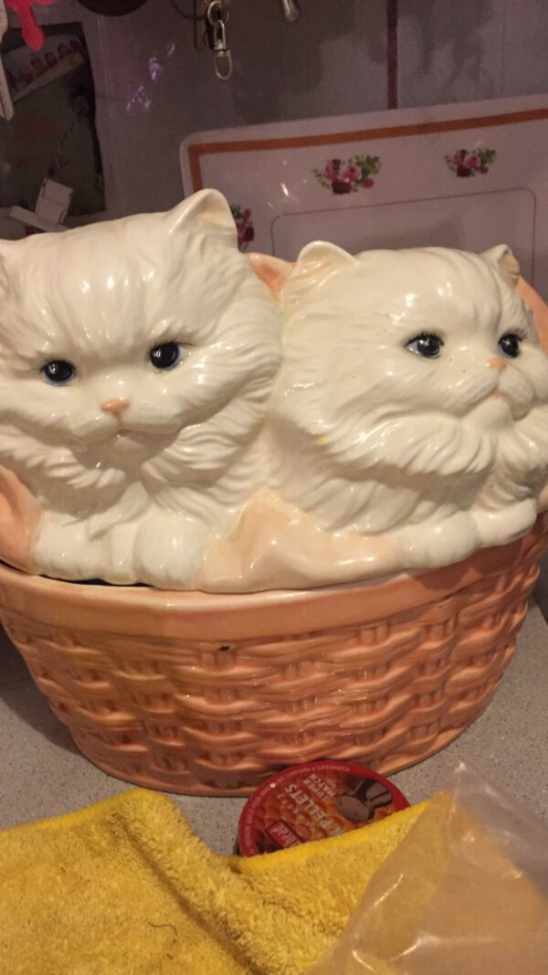 two white Persian Cat ceramic figurines