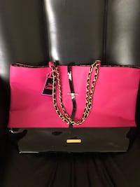 women's pink and black leather tote bag Poquoson