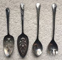 4 Silver Pie Servers and Spoons Plymouth
