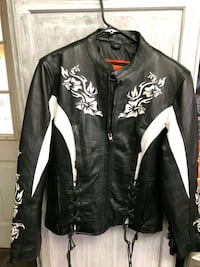 black and white leather zip-up jacket