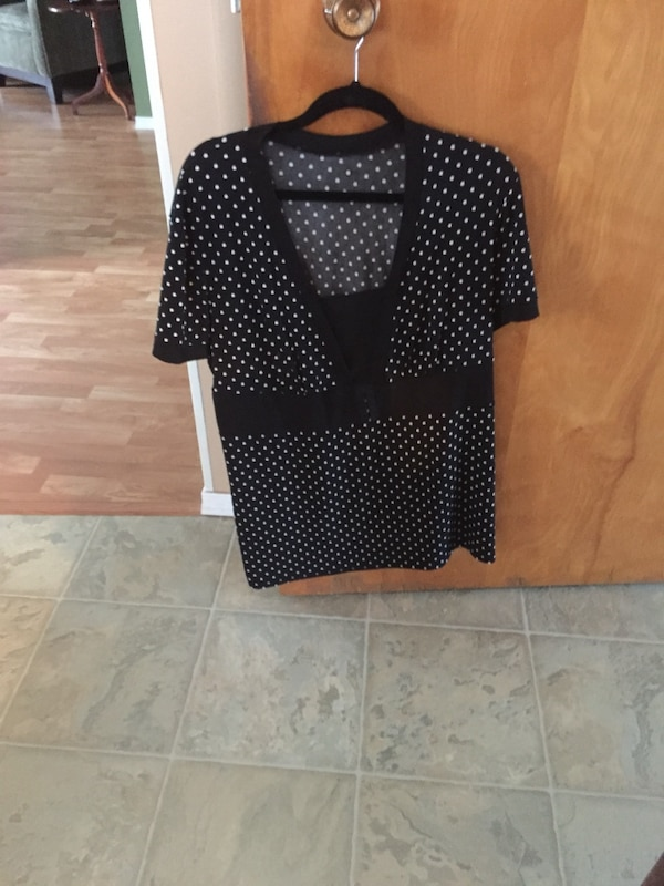 Black and white polkadot top