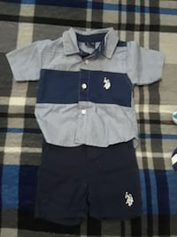 gray and blue Polo Ralph Lauren button-up T-shirt and shorts