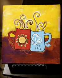 "Acrylic Canvas Painting - ""Coffee Time"""