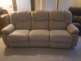 Gray leather 3-seat sofa, a love seat, and a recliner