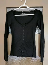 Black button-up round neck/lace sweater size xs  Calgary, T2E 0B4