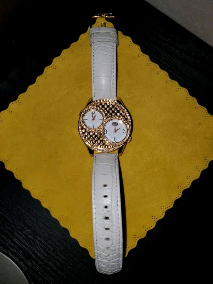 Photo Marc Ecko White Dial Gold Plated Stainless Steel Watch