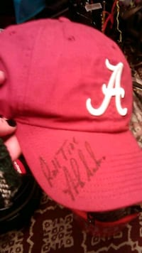 Red Alabama Nike Hat, Autographed by Nick Saban