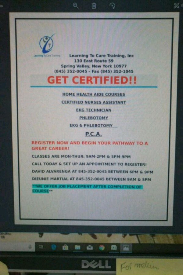 Home Health Aide Certification In Spring Valley Letgo