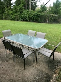 rectangular white metal framed glass top patio table set Fayetteville, 28301