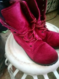 maroon suede lace-up boots 1619 mi