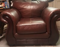 leather armchair, with wood trim Laval