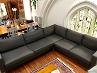 gray fabric sectional sofa with throw pillows 538 km