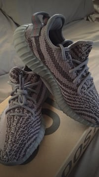 pair of gray Adidas Yeezy Boost 350 v2's