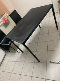 black wooden table with black metal base Hamilton, L8L