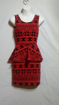 Red and black floral textile dress Oklahoma City