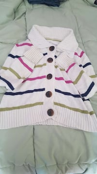 white,pink and black striped sweater Windham, 04062