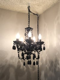 Beautiful black glass chandelier plug in swag