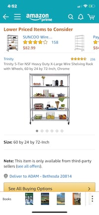 Trinity 5-Tier NSF Heavy Duty X-Large Wire Shelving Rack with Wheels, 60 by 24 by 72-Inch, Chrome 33 km