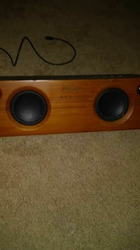 brown dual loaded subwoofer enclosure