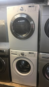 white LG front-load washer and dryer set Toronto, M6H