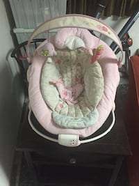baby's pink and white floral swing chair Okotoks, T1S 1V1