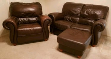 Leather Love seat, Chair & Ottoman