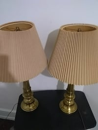 two gold base brown lampshade 370 mi