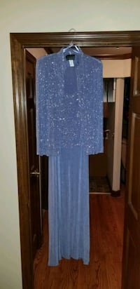 2 Piece Sequin Shimmer Top and Jacket Evening Dres