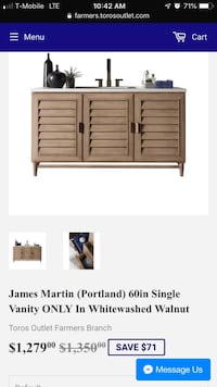 James Martin (Portland) 60in Single Vanity ONLY In Whitewashed Walnut Lewisville, 75067