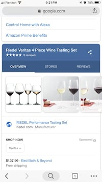 Reidel Veritas Red & White Tasting Set Ashburn, 20148