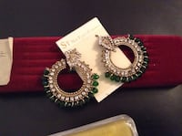 Earring with white and green stones golden Indian new packed  Milwaukee, 53208