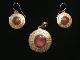 Rhodochrosite and 950 silver pendant and earring set