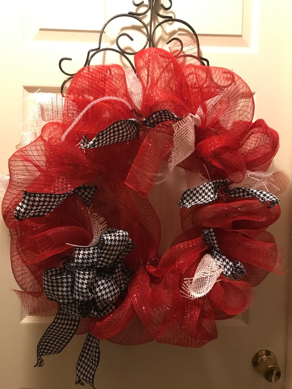 red, black and white wreath