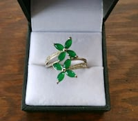 Sterling Silver Emerald Flower Ring