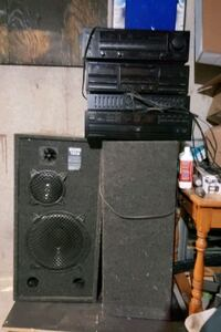 kenwood 4 piece stereo system with speakers and su