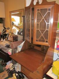 brown wooden framed glass display cabinet Toronto, M6J 2N7