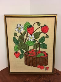 Large Vintage Framed Strawberry Embroidery 60's