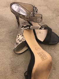 pair of black leather open-toe ankle strap heels Richmond Hill, L4S 2G4