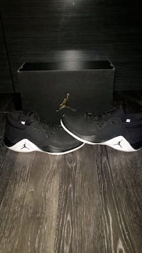 pair of black-and-white Air Jordan basketball shoes with box Bradford West Gwillimbury